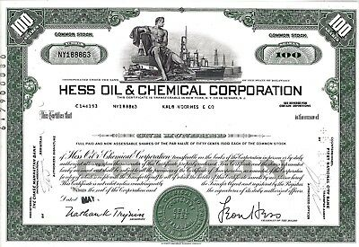 Hess Oil & Chemical Corporation, 1969 (100 Shares)
