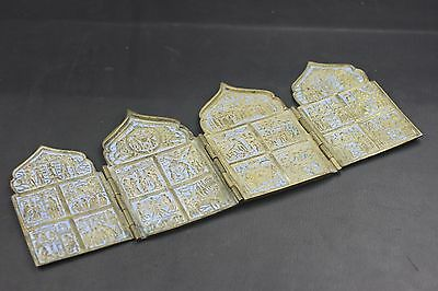 "Antique Authentic Russian Four Fold Bronze Enameled Icon Skladen 6"" X 3.75"""