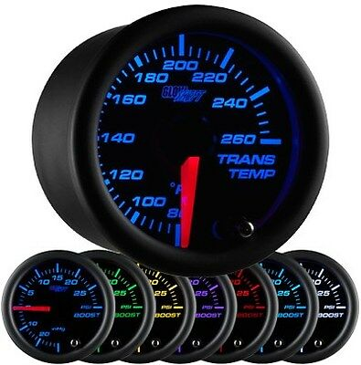 52mm GLOWSHIFT BLACK 7 COLOR ELECTRICAL TRANSMISSION TRANS TEMP GAUGE GS-C712