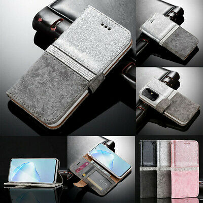 Samsung S10 iPhone Huawei Bling Diamond Leather Magnetic Flip Wallet Case Cover