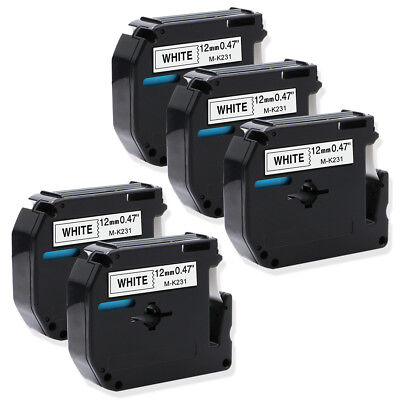 5PK M-K231 Black on White 1/2' Compatible for Brother P-touch M95 Label Tapes