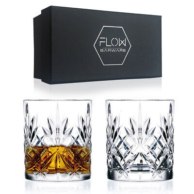 Set Of 2 Italian Crystal Whiskey Glasses Bar Gift Scotch, Bourbon G&T BOXED