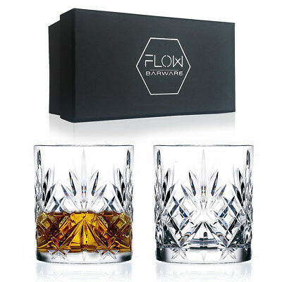 Set Of 2 Italian Cut Crystal Whiskey Glasses Bar Gift Scotch, Bourbon G&T BOXED