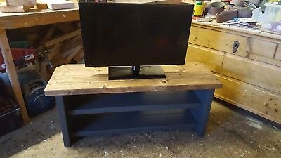 Tv stand rustic shabby chic solid pine wood with shelves hand painted