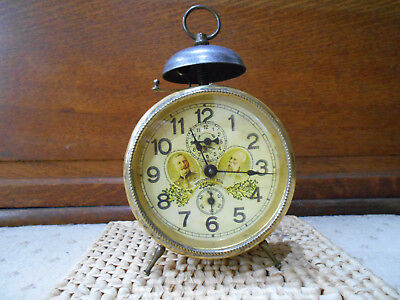 Antique WWI Junghans Alarm Clock, Kaiser Wilhelm II & Franz Josef I On The Face