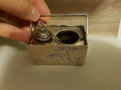 Antique Chinese silver salt & spices cellars