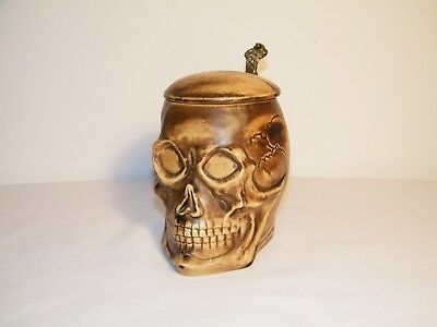 Vintage Skull Beer Stein with Lid Made in Germany # 2634 EUC