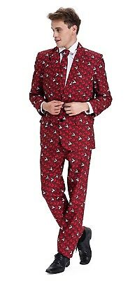 Mens Xmas Christmas Holiday Ugly Suit Jacket Trousers Tie Red-Fly Elk Size XL