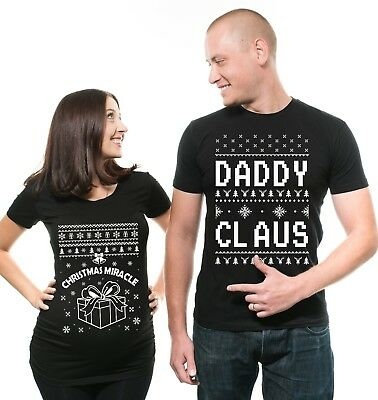 Christmas Maternity Couples Matching Shirts Daddy Claus Couple Matching T-shirts