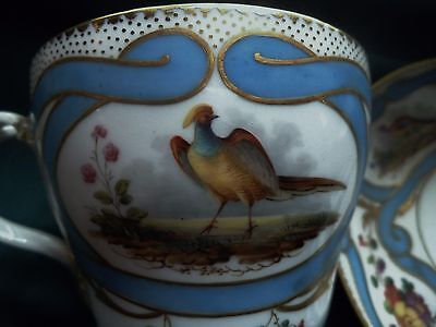 SEVRES. BREAKFAST IN Old PORCELAIN. Decor BIRDS and FLOWERS with Blue Ribbon.