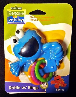 *FACTORY SEALED* Sesame Street ~ COOKIE MONSTER ~ Rattle with Rings (Muppets)