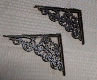 A Pair of Beautiful Antique Ornate Cast Iron Shelf Brackets