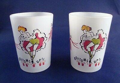Vintage Set of 2 Can Can Girl 4 oz Frosted Shot Glasses Anchor Hocking