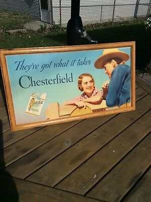 1940's Chesterfield cigarettes Gary Cooper movie advertising store display sign