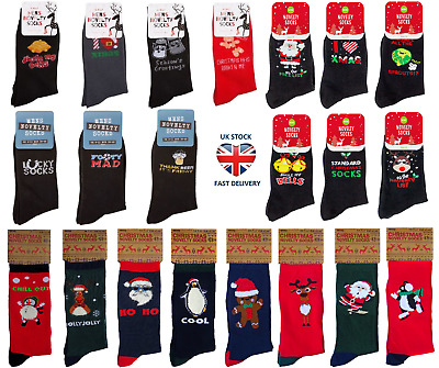 MENS CHRISTMAS SOCKS Novelty Festive Secret Santa Dad Boys Family Sets Gift Idea