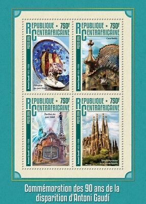 Central African Republic 2016 MNH Antoni Gaudi 4v M/S Art Architecture Stamps