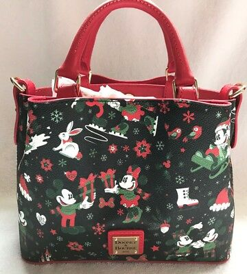 Disney Dooney & and Bourke Christmas Woodland Winter Holiday Tote Purse Bag 1