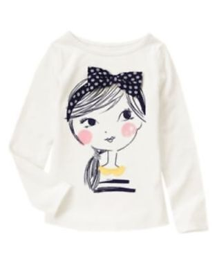 GYMBOREE FLOWER SHOWER IVORY w/ GIRL FACE HAIR BOW L/S TEE 5 NWT