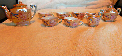 EXCEPTIONAL Antique Lusterware Japanese Toy Tea Set, Peach with Blue Birds 33 pc