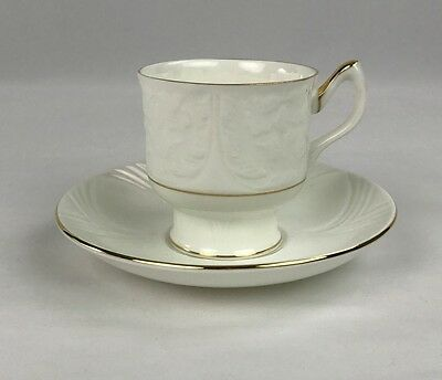 Crown Staffordshire Vintage Fine Bone China Tea Cup and Saucer White W Gold Trim