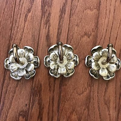 Vintage Wall Hooks Metal Gold Flower Hook Patina 3 Pc Lot