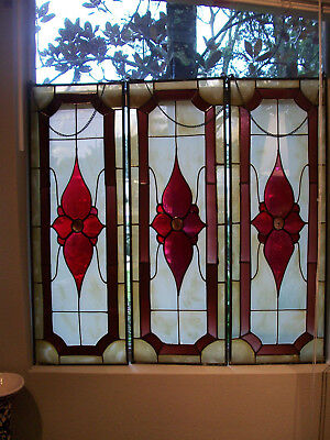 Vintage Stained Glass Window Hanging Panel Qty 1 Victorian Ruby Floral Center