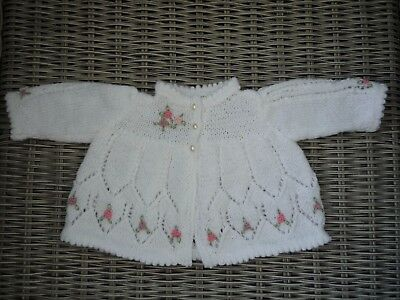 0-3 months girl's white hand knitted embroidered cardigan