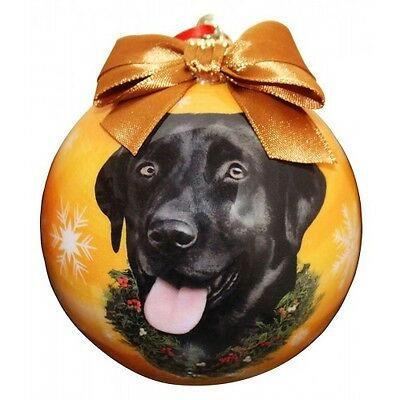Labrador Retriever Black Shatterproof Ball Dog Christmas Ornament