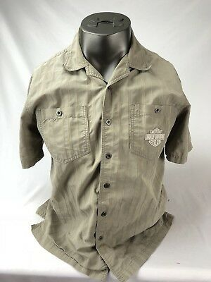 Harley Davidson Short Sleeve Button Down Shirt Embroidered Patch Striped Tan L
