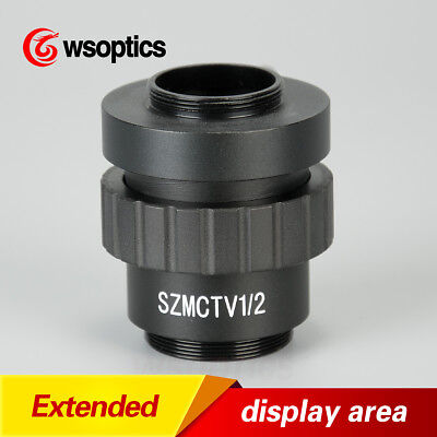 0.5X 1/2 CTV CCD C-MOUNT Lens Adapter Camera For AmScope SM Stereo Microscopes