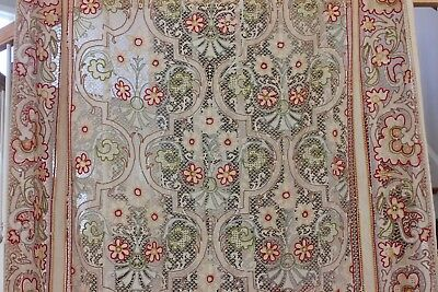French Antique 19thC Cornely Embroidered Frame Cotton Lace Curtain Panel c1890
