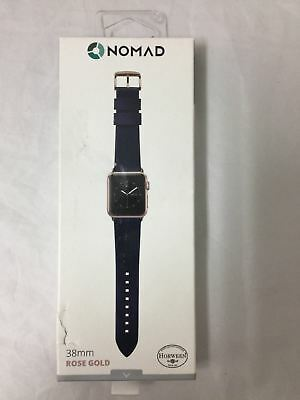 Nomad Leather Watch Strap for Apple Watch 38mm Blue with Rose Gold Lugs