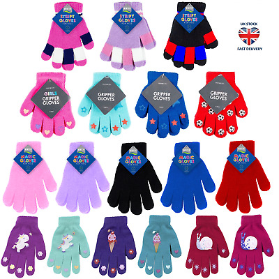 KIDS WINTER GLOVES Thermal Stretch Gripper / Snow Soft Magic Fleece NEW DESIGNS