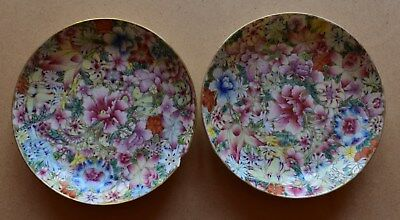 A pair of antique Chinese millefleur porcelain dishes, Republic period