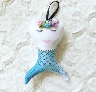 Personalized Mermaid Tooth Fairy Pillow Soft Plush Pearl Necklace Girl Handmade