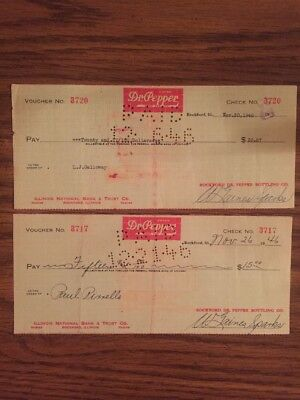 Lot Of 2 Vintage 1946 Dr Pepper Cancelled Checks Soda Pop Rockford Illinois