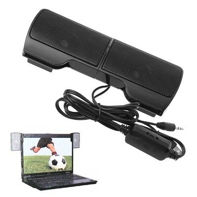 Mini USB Powered Line Control Stereo Clip-On Speaker For Notebook Laptop 1Pair