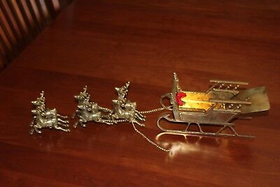 VintageSolid Brass Sleigh with 6 Reindeer Christmas Holiday Heavy