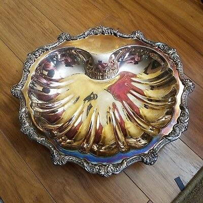 Old English Silverplate Poole footed shell claim platter. Excellent Condition