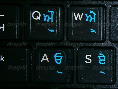 PUNJABI TRANSPARENT Keyboard Stickers BLUE Letters Fast Free Postage