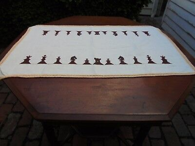 Antique Linen Chessmen Centre Piece Doily Runner Hand Embroidered Crochet Edge