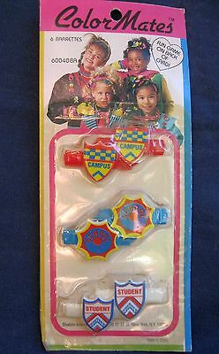 Vtg New 6 Hair Barrettes Girls Color Mates In Package 70's-80's School, Student