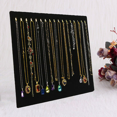 Show Display Stand Chain L Type 17 Hook Pendant Necklace Velvet Jewelry Holder