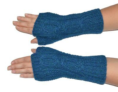 Women's 100% Pure Alpaca Hand-Knit Cabled Fingerless Gloves