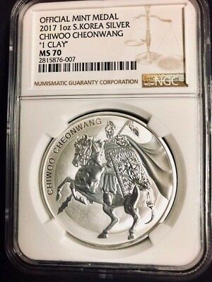 2017 South Korea 1 oz Silver Medal Chiwoo Cheonwang NGC MS 70