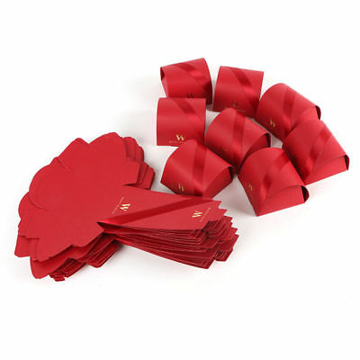 50pcs Red Wedding W Letter Ribbon Gift Favor Rustic Kraft Candy Chocolate Boxes