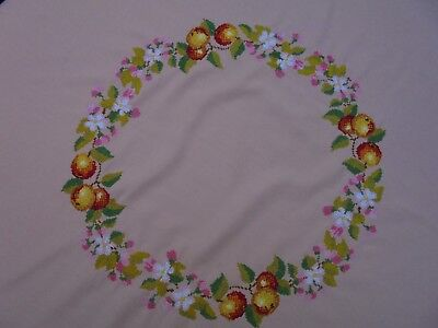 Vintage Linen Apples & Blossom Embroidered Round Pink Table Cloth Crochet Border