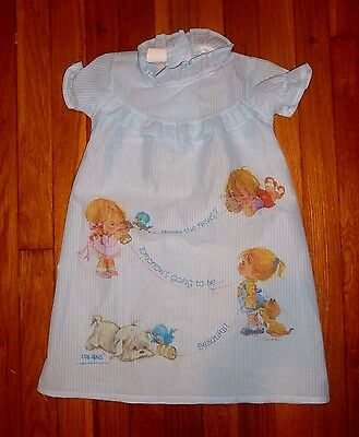 Girls Size 2 VINTAGE Blue Nightgown SEARS 1980 URCHINS American Greetings