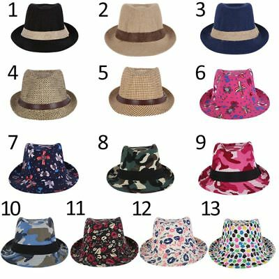 AU Girls Boys Summer Outdoor Fedora Jazz Cap Photography Trilby Holiday Hats New