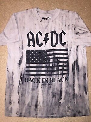 AC/DC BACK IN BLACK 1980 US TOUR Flag album Band VINTAGE Retro MEN'S New T-Shirt
